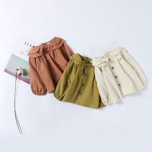 Wholesale 2021 Spring Korean Style Girls Shirts Peter Pan Collar Blouses Children Fashion Clothing 2568 Y2