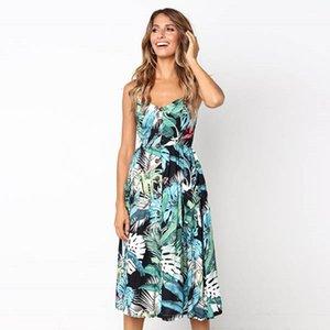 Vintage Rahat Sundress Kadın Plaj Elbise MIDI Düğme Backless Polka Dot Çizgili Kadınlar Elbise 2021 Susmer Seksi Çiçek Parti Elbise
