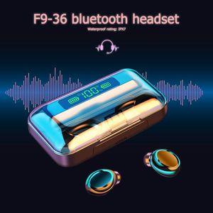 F9-36 TWS Bluetooth Earbuds Wireless In-Ear Headphones Stereo Headset Waterproof Earphones With 1200mAH Large Capacity Portable &
