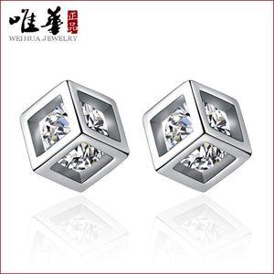 Amor rubik's cubo dulce femenino femenino moda temperamento zircon geométrico pendientes cuadrados ewoi