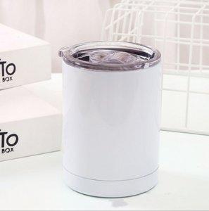 10oz sublimation droite bobball gobelets en acier inoxydable tasse d'acier en acier inoxydable Couvercle clair Couvercle blanc double paroi doublure cuite d'eau de café portable