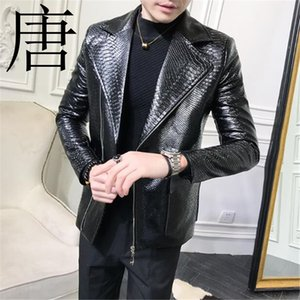 Tang cool 2021 New Brand Classic Crocodile-print Leather Jacket Mens Black Fashion Designer Punk Locomotive PU Leather Jacket