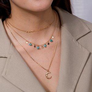 Nuova collana a sospensione a mezzaluna multistrato collana di agata naturale agata piccola catena clavicola per donna
