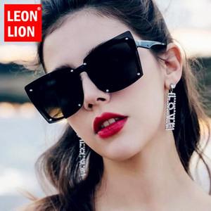 Lunettes de soleil Square Square Leonlion Femmes Noir Black Clear Shades Lunettes 2021 Vintage Femelle Summer Oculos