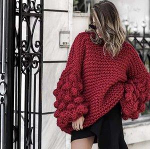 Sweers2020 Outono e estilo de inverno puro mão tricô bola lanterna manga camisola suéteres mulher Cardigans para mulheres Cardigan