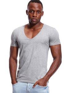 Cinza luz de pescoço profundo cinzento camiseta para homens baixo corte largo vee tshirt masculino tshirt invisível camiseta modelo de colher hem slim encaixar manga curta