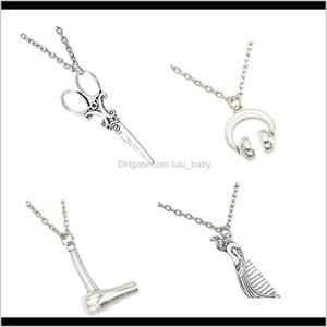 Vintage Silver Jewelry For With Hair Dryer Scissor Comb Pendants Shape Fashion Women And Gifts Uvsto Beaded Necklaces Hrvdt