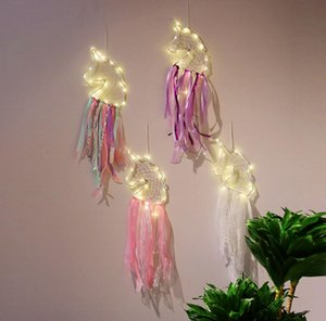 LED Wind Chimes Handmade Dreamcatcher Lamps Feather Pendant Dream Catcher Creative Hanging Craft Wish Gift Home Decoration