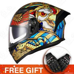 Motorcycle Helmets Helmet Capacete De Moto Motorbike Retro Helm Motocross Washable Lining Double Visor Full Face Casco
