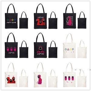Large Capacity Korean Squid Game Shopping Bags Harajuku Cartoon Vintage Hip Hop Bag Canvas shoulderbag Funny Women's Handbag FWB11086