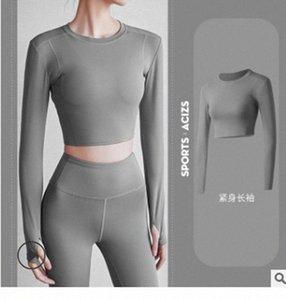 Femmes sans soudure de chemises de yoga à manches longues à manches longues LEGGING TOPS TOUCHE serré Fitness Thumb Hole Sportswear ajusté Salle de sport Outfits 12 Z2XN #
