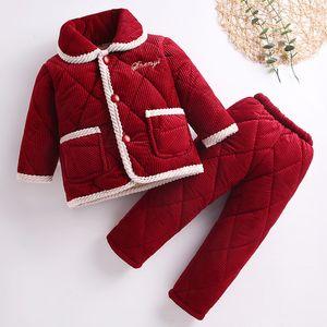 MudiPanda Winter Baby Home Clothes Christmas Set For Girls Boy Children'S Pyjamas Kids Plus Velvet Warm Cotton Pajamas