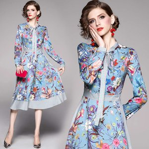 2020 Luxury Runway Designer Dresses Long Sleeve Women Party Prom Floral Print Bow Neck Ladies Dress Spring Fall Button Shirt Office Dress
