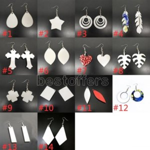 1pc DIY Sublimation Blanks Earrings Designer Earrings Party Gifts DIY Valentines Day Gifts For Women 14 Styles FY4386