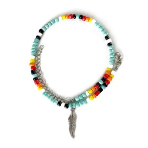 Beaded, Strands BOHO 2 Layers Colorful Seed Beads Metal Feather Cross Pendant Bracelet For Women Trendy Vacation Style Charm Jewelry Wholesa
