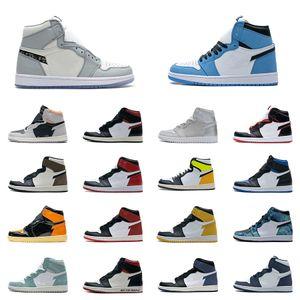 Mens UNC University Blue Basketball Shoes 1s 1 High Top Smoke Neutral Grey Red Black Toe Bred Turbo Green Dark Mocha Game Royal Metallic Silver Sahdow Sneakers