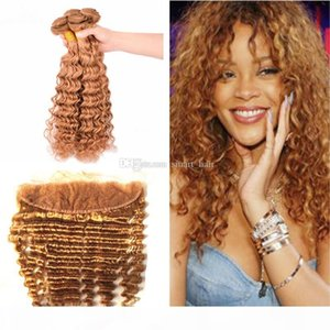 Deep Wave brazilian Virgin Hair Bundles With Frontal Closure Strawberry Blonde 27 Deep Wave Hair Weft With Ear To Ear Frontal 13x4