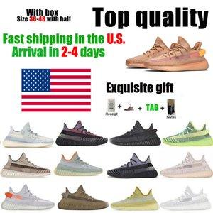 في الولايات المتحدة الأمريكية كاني ويست الجري أحذية أعلى جودة الرجال النساء الأرض أسود ساكنة بلاكاند الأحمر مع مربع نصف حجم الذيل ضوء الطين كريم أبيض 36 ~ 46 مستودع