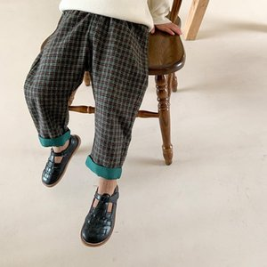 Trousers Spring Autumn Boys Fashion Plaid Unisex Children Straight Patchwork Pants