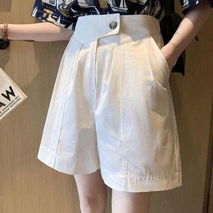Переизок 4XL шифон женщин шорты 2021 осень высокая талия кнопка твердая плиссированная широкая нога случайные женские высочайшее качество женщин