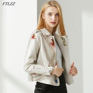 FTLZZ Новые Осенние Женщины Цветочные Распечатать Вышивка PU Искусственная Кожаная Куртка Streetwear Punk Style Biker Поверните Воротник Черное пальто
