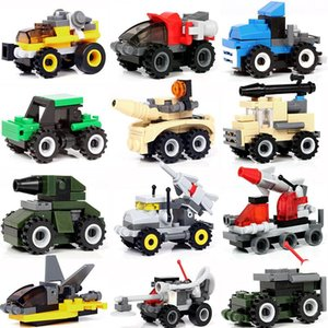 14 types of plastic assembled armored vehicle missile vehicle off-road vehicle small block puzzle children's block toy