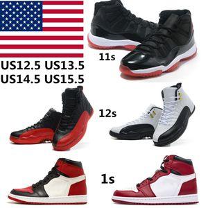 Баскетбольные туфли Jumpman 1S Sport 11s Obsidian 12s Университет синий высокий спортивный бесстрашных мужчин женские гипер королевские UNC размер размер US14 13 US15 36-50 с половиной