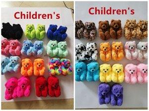 Zapatillas de osito de peluche infantiles Kids Fluffy Llush diapositivas Lindo Oso de dibujos animados Zapatos de casa plana casual Baby Fashion Flip Flobs