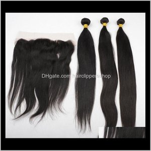 Lace Frontals With Brazilian 3 Bundles Straight Wave Human Weave Unprocessed Indian Malaysian Peruvian Extensions Vv1Yf Closure Brkv5