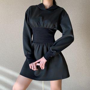 Women's hooded corset dress 27520g slim sexy long sleeve skirt