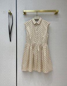 Designer Dress 2021 Summer Sleeveless Lapel Neck heart Print Sashes Fashion Brand Same Style Skirts 0319-6