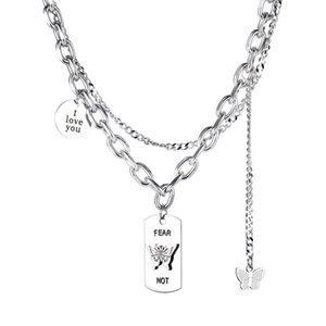 Maglione collane pendenti per donna scheggiatore multistrato di personalità alla moda Design a farfalla in acciaio inox croce rotondo etichetta per ragazze regali di compleanno