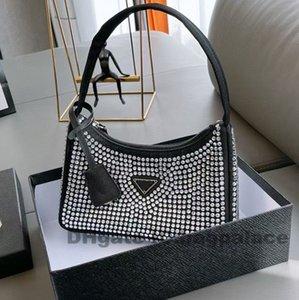 2021 Luxurys дизайнеры сумки сумки полумесяц 23 * 13см сияющий горный хрусталь мерцание блеск женские плечевые сумки мода высочайшего качества вечеринка вечеринка