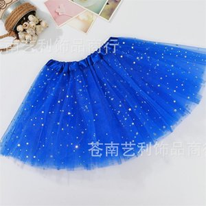 Girls Tutu Skirts Kids Clothes Stars Glitter Ballets Fancy Pettiskirt Sequin Stage Dancewear Costume Summer Tulle Princess Mini Dress 253 K2
