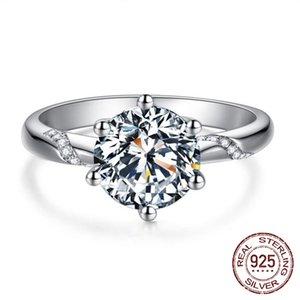 Anéis de presente de moda natural 6mm zircônia diamante 925 anel de prata esterlina banda de casamento luxo para as mulheres da noiva J-363
