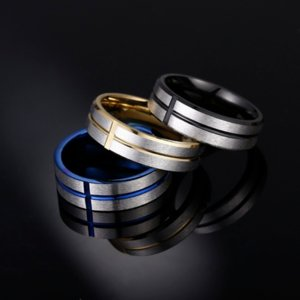 Groove Cross Band Rings Stainless Steel Blue Black Gold Finger Ring for Women Men Fashion Jewelry Will and Sandy