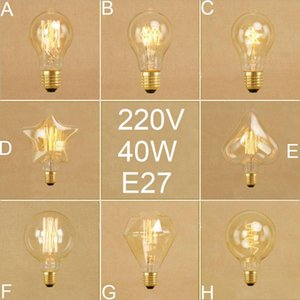 Bulbs Vintage Edison A19 G95 Diamond Squirrel Incandescent Retro Five Star Heart Spiral 40W Filament Bulb 220V 240V