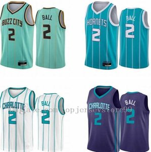 2021 Neue Nähte Günstige Herren Lamelo-Kugel # 2 2020-21 Mint Green City Association Teal Icon Draft Basketball Jersey Atmungsaktive Größe S-2XL