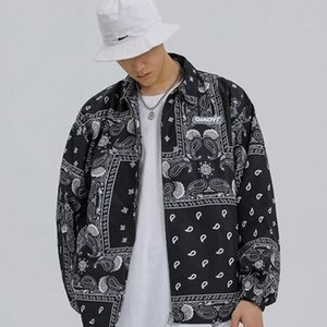 Men's Trench Coats Hip Hop Fashion 2021 Spring Autumn Streetstyle Jacket For Men Clothes Mens Windbreaker Coat Bandana Paisley Pattern Outwe