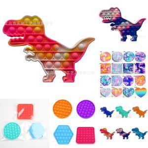 Arco-íris Dinossauro Poppers Board Fidget Brinquedos Pop Popper Push Bubble Popper Placas de dedo Sensory Simples Stress Reliever Puzzle Silicone Toy H32RH11