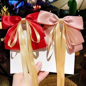 Урожай лук-узловые волосы ленты пальки длинные сатинские барьерные моды головные уборные леди элегантные аксессуары для волос для женских девушек украшения