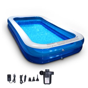 """WACO Inflatable Swimming Pool, Full-Sized Family Pools for Baby, Kids, Adults Blow up Kiddie,Outdoor Garden Backyard, PVC Material with Pump,120""""X70""""X20"""""""