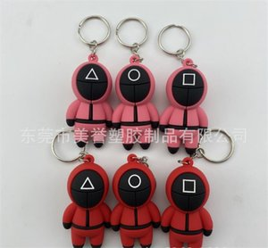 TV Squid Game Keychain Popular Toy Anime Surrounding Wooden People Pontang PVC Keychains-TOPN976