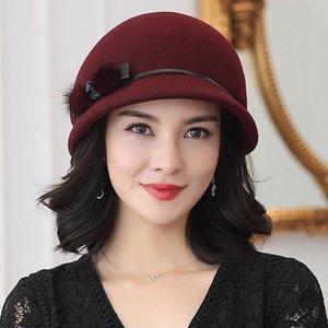 2020 100% Avustralya Yün Fedoras Kadınlar Sonbahar Kış Kilisesi Cloche Şapkalar Zarif Ziyafet Vizon Kürk Fedora Şapka