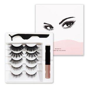 Magnetic False Eyelashes with Liquid Eyeliner Kit Upgraded 5 Pairs 3D Natural Reusable Eyelashes & Tweezers Set 3 in1 Eyes Makeup No Glue
