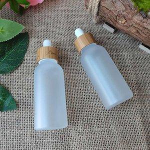 Leere mattierte klare Kunststoff ätherische Ölbehälterflaschen mit Bambus-Deckel Hautpflegeverpackung Flasche Sahne Glas Pumpe BottleHigh Qty
