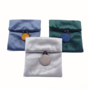 Ro1 green jewe packaging boxes lry lipstickflannelette flip baglipstickeye shadowdouble jewelry boxes faced velvet envelopessmall bag green