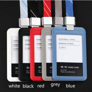 Holder Id Badge ID IC Card Badge Holder Cover Plastic Pocket Work Card With Polyester Lanyard Chest Name Tag Suspension Neck Badge Case