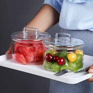 내열 유리 그릇 스태킹 라운드 과일 샐러드 그릇 맑은 주방 식품 저장 용기
