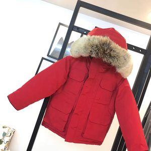الشتاء الاطفال أسفل معطف سترة صبي فتاة الطفل قميص الدافئة greatcoat جاكيتات مقنعين الرياضية في الهواء الطلق الكلاسيكية التفاف 5 ألوان 100-150 مصمم